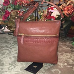 FRYE Whipstitch Leather Cognac Crossbody